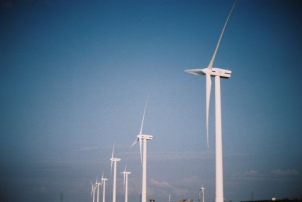 The coastline is dotted with wind turbines, it's beautiful!