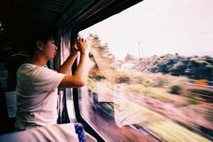 Travelled by train